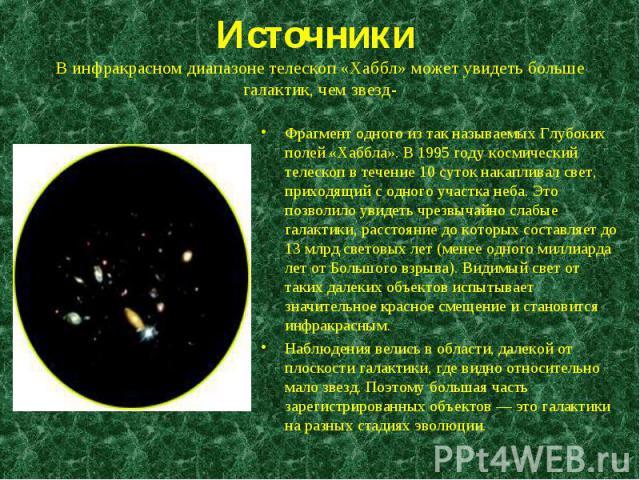 Фрагмент одного из так называемых Глубоких полей «Хаббла». В 1995 году космический телескоп в течение 10 суток накапливал свет, приходящий с одного участка неба. Это позволило увидеть чрезвычайно слабые галактики, расстояние до которых составляет до…