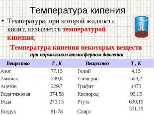 Температура, при которой жидкость кипит, называется температурой кипения; Темпер