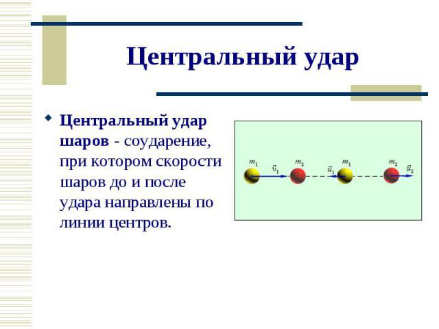 Центральный удар шаров - соударение, при котором скорости шаров до и после удара направлены по линии центров. Центральный удар шаров - соударение, при котором скорости шаров до и после удара направлены по линии центров.