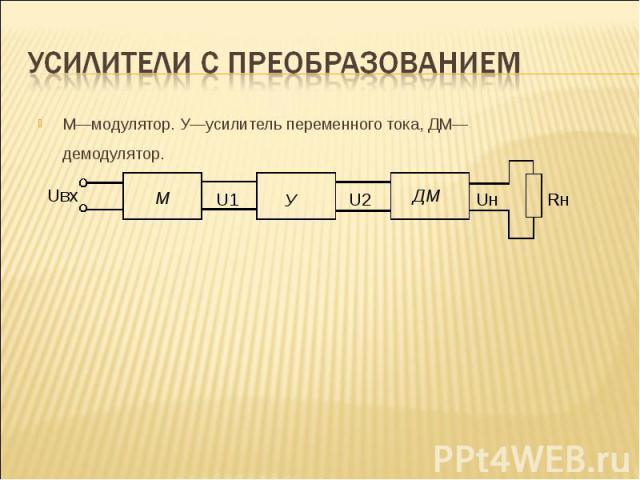 М—модулятор. У—усилитель переменного тока, ДМ—демодулятор. М—модулятор. У—усилитель переменного тока, ДМ—демодулятор.