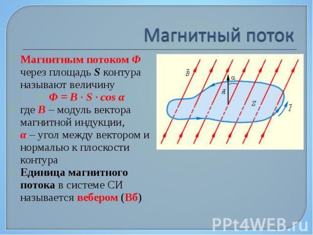 Магнитным потоком Φ через площадь S контура называют величину Магнитным потоком Φ через площадь S контура называют величину Φ = B·S·cosα где B – модуль вектора магнитной индукции, α – угол между вектором и нормалью к пл…