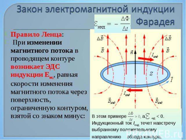 Правило Ленца: Правило Ленца: При изменении магнитного потока в проводящем контуре возникает ЭДС индукции Eинд, равная скорости изменения магнитного потока через поверхность, ограниченную контуром, взятой со знаком минус: