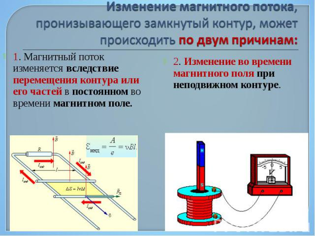 1. Магнитный поток изменяется вследствие перемещения контура или его частей в постоянном во времени магнитном поле. 1. Магнитный поток изменяется вследствие перемещения контура или его частей в постоянном во времени магнитном поле.