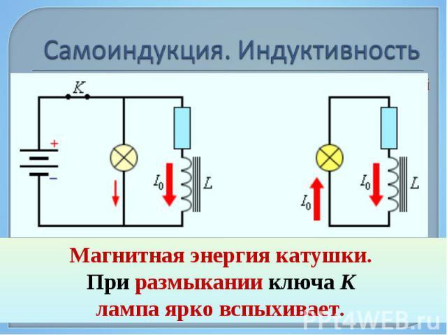 Самоиндукция является важным частным случаем электромагнитной индукции, когда изменяющийся магнитный поток, вызывающий ЭДС индукции, создается током в самом контуре. Самоиндукция является важным частным случаем электромагнитной индукции, когда измен…