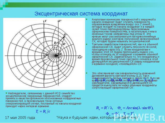 Эксцентрическая система координат Аналогами конических поверхностей с вершиной в начале координат будут служить поверхности, образованные вращением вокруг оси Z линий L, которые исходят из начала координат и в каждой своей точке перпендикулярны пере…