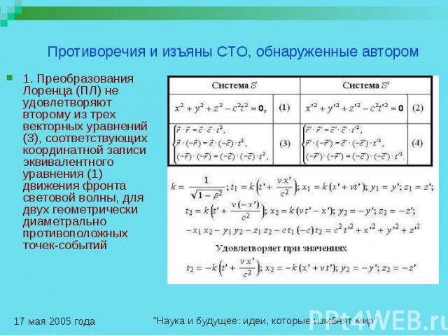 Противоречия и изъяны СТО, обнаруженные автором 1. Преобразования Лоренца (ПЛ) не удовлетворяют второму из трех векторных уравнений (3), соответствующих координатной записи эквивалентного уравнения (1) движения фронта световой волны, для двух геомет…