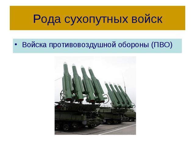 Рода сухопутных войск Войска противовоздушной обороны (ПВО)