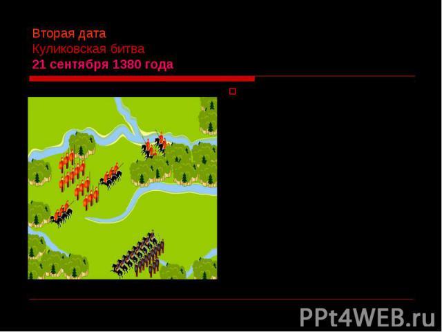 Вторая дата Куликовская битва 21 сентября 1380 года 21 сентября 1380 года московский князь Дмитрий Иванович дал сражение ордынскому темнику Мамаю близ устья реки Непрядвы приток Дона и разгромил его. Победа принесла князю прозвище Донской, а за Моск…
