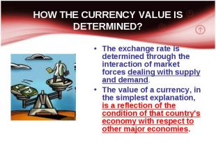 The exchange rate is determined through the interaction of market forces dealing
