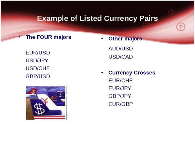 The FOUR majors The FOUR majors EUR/USD USD/JPY USD/CHF GBP/USD