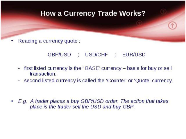 Reading a currency quote : Reading a currency quote : GBP/USD ; USD/CHF ; EUR/USD - first listed currency is the ' BASE' currency – basis for buy or sell transaction. - second listed currency is called the 'Counter' or 'Quote' currency. E.g. A trade…