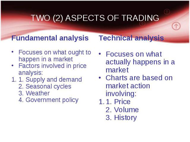 Fundamental analysis Fundamental analysis Focuses on what ought to happen in a market Factors involved in price analysis: 1. Supply and demand 2. Seasonal cycles 3. Weather 4. Government policy