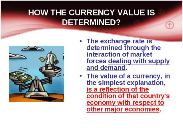 The exchange rate is determined through the interaction of market forces dealing with supply and demand. The exchange rate is determined through the interaction of market forces dealing with supply and demand. The value of a currency, in the simples…