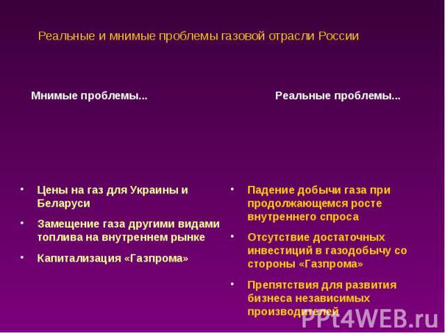 Реальные и мнимые проблемы газовой отрасли России
