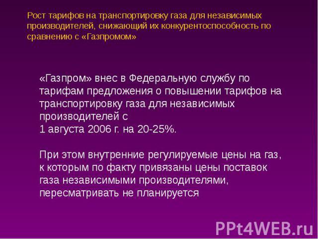 Рост тарифов на транспортировку газа для независимых производителей, снижающий их конкурентоспособность по сравнению с «Газпромом»