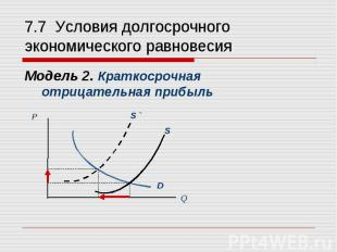 Модель 2. Краткосрочная отрицательная прибыль Модель 2. Краткосрочная отрицатель