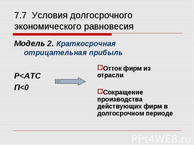 Модель 2. Краткосрочная отрицательная прибыль Модель 2. Краткосрочная отрицательная прибыль Р<ATC П<0