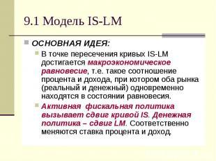 9.1 Модель IS-LM ОСНОВНАЯ ИДЕЯ: В точке пересечения кривых IS-LM достигается мак