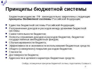 Бюджетным кодексом РФ законодательно закреплены следующие принципы бюджетной сис
