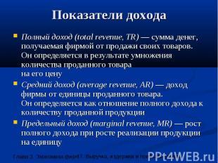 Показатели дохода Полный доход (total revenue, TR) — сумма денег, получаемая фир
