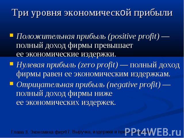 Три уровня экономической прибыли Положительная прибыль (positive profit) —полный доход фирмы превышает ее экономические издержки. Нулевая прибыль (zero profit) — полный доход фирмы равен ее экономическим издержкам. Отрицательная прибыль (negative pr…