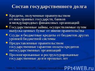 Состав государственного долга Кредиты, полученные правительством от иностранных