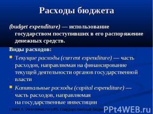 Расходы бюджета (budget expenditure) — использование государством поступивших в