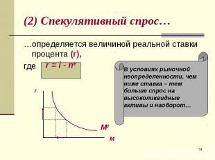 …определяется величиной реальной ставки процента (r), …определяется величиной ре