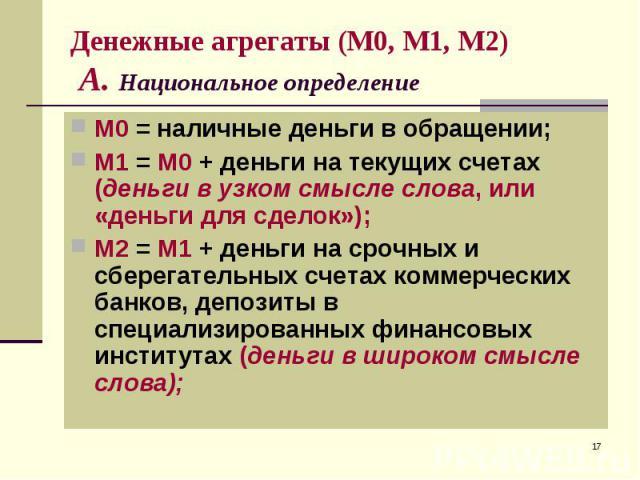 М0 = наличные деньги в обращении; М0 = наличные деньги в обращении; М1 = М0 + деньги на текущих счетах (деньги в узком смысле слова, или «деньги для сделок»); М2 = М1 + деньги на срочных и сберегательных счетах коммерческих банков, депозиты в специа…
