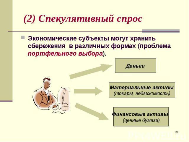 Экономические субъекты могут хранить сбережения в различных формах (проблема портфельного выбора). Экономические субъекты могут хранить сбережения в различных формах (проблема портфельного выбора).