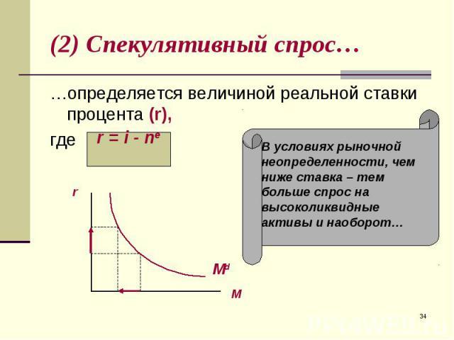 …определяется величиной реальной ставки процента (r), …определяется величиной реальной ставки процента (r), где