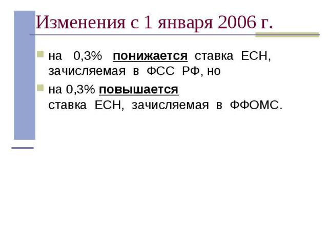 на 0,3% понижается ставка ЕСН, зачисляемая в ФСС РФ, но на 0,3% понижается ставка ЕСН, зачисляемая в ФСС РФ, но на 0,3% повышается ставка&nbs…