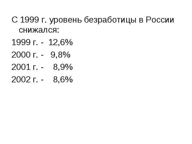 С 1999 г. уровень безработицы в России снижался: С 1999 г. уровень безработицы в России снижался: 1999 г. - 12,6% 2000 г. - 9,8% 2001 г. - 8,9% 2002 г. - 8,6%
