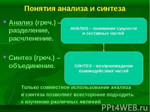 Анализ (греч.) – разделение, расчленение. Анализ (греч.) – разделение, расчленен