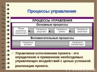 Управление исполнением проекта - это определение и применение необходимых управл