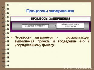 Процессы завершения - формализация выполнения проекта и подведение его к упорядо
