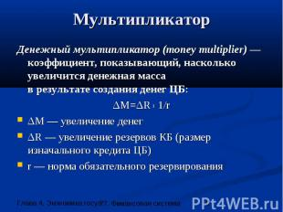Мультипликатор Денежный мультипликатор (money multiplier) — коэффициент, показыв
