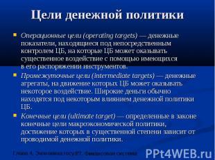 Цели денежной политики Операционные цели (operating targets) — денежные показате