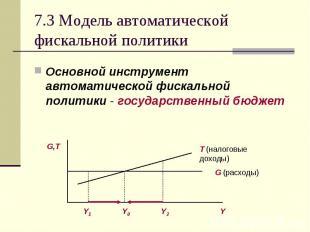 Основной инструмент автоматической фискальной политики - государственный бюджет