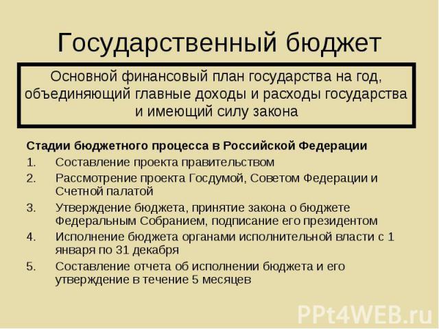 Стадии бюджетного процесса в Российской Федерации Стадии бюджетного процесса в Российской Федерации Составление проекта правительством Рассмотрение проекта Госдумой, Советом Федерации и Счетной палатой Утверждение бюджета, принятие закона о бюджете …