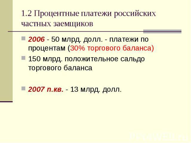 2006 - 50 млрд. долл. - платежи по процентам (30% торгового баланса) 2006 - 50 млрд. долл. - платежи по процентам (30% торгового баланса) 150 млрд. положительное сальдо торгового баланса 2007 п.кв. - 13 млрд. долл.