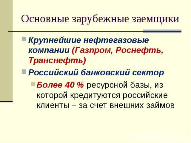 Крупнейшие нефтегазовые компании (Газпром, Роснефть, Транснефть) Крупнейшие нефтегазовые компании (Газпром, Роснефть, Транснефть) Российский банковский сектор Более 40 % ресурсной базы, из которой кредитуются российские клиенты – за счет внешних займов
