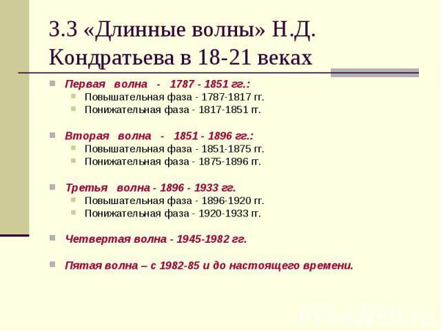 Первая  волна  -  1787 - 1851 гг.: Первая  волна  -  1787 - 1851 гг.: Повышательная фаза - 1787-1817 гг. Понижательная фаза - 1817-1851 гг. Вторая  волна  -  1851 - 1896 гг.: Повышательная фаза -…