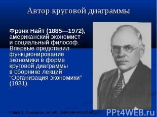 Автор круговой диаграммы Фрэнк Найт (1885—1972), американский экономист и социал