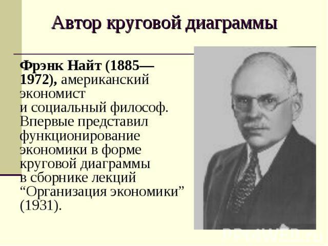"""Фрэнк Найт (1885—1972), американский экономист и социальный философ. Впервые представил функционирование экономики в форме круговой диаграммы в сборнике лекций """"Организация экономики"""" (1931). Фрэнк Найт (1885—1972), американский экономист и социальн…"""