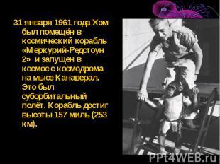 31 января 1961 года Хэм был помещён в космический корабль «Меркурий-Редстоун 2»