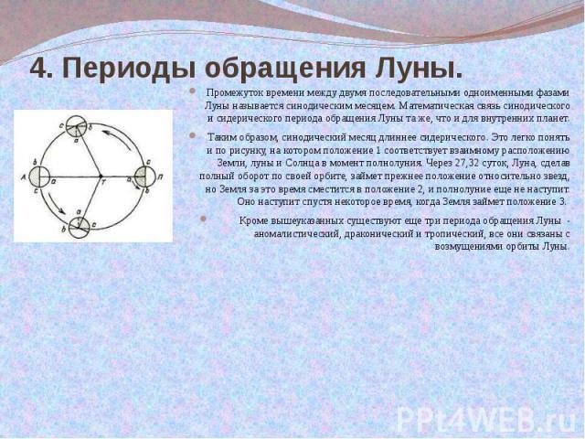 4. Периоды обращения Луны.  Промежуток времени между двумя последовательными одноименными фазами Луны называется синодическим месяцем. Математическая связь синодического и сидерического периода обращения Луны та же, что и для внутренних …