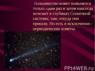 Большинство комет появляется только один раз и затем навсегда исчезает в глубина