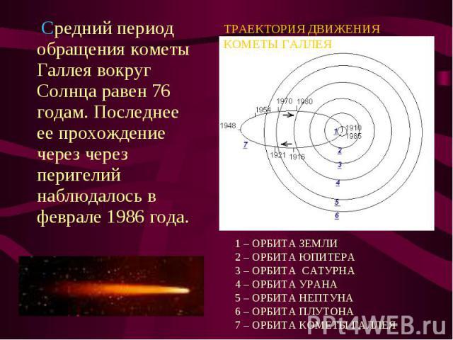 Cредний период обращения кометы Галлея вокруг Солнца равен 76 годам. Последнее ее прохождение через через перигелий наблюдалось в феврале 1986 года. Cредний период обращения кометы Галлея вокруг Солнца равен 76 годам. Последнее ее прохождение через …