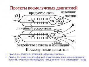 Проекты космолучевых двигателей Проект а) - двигатель разгоняет запасённые части
